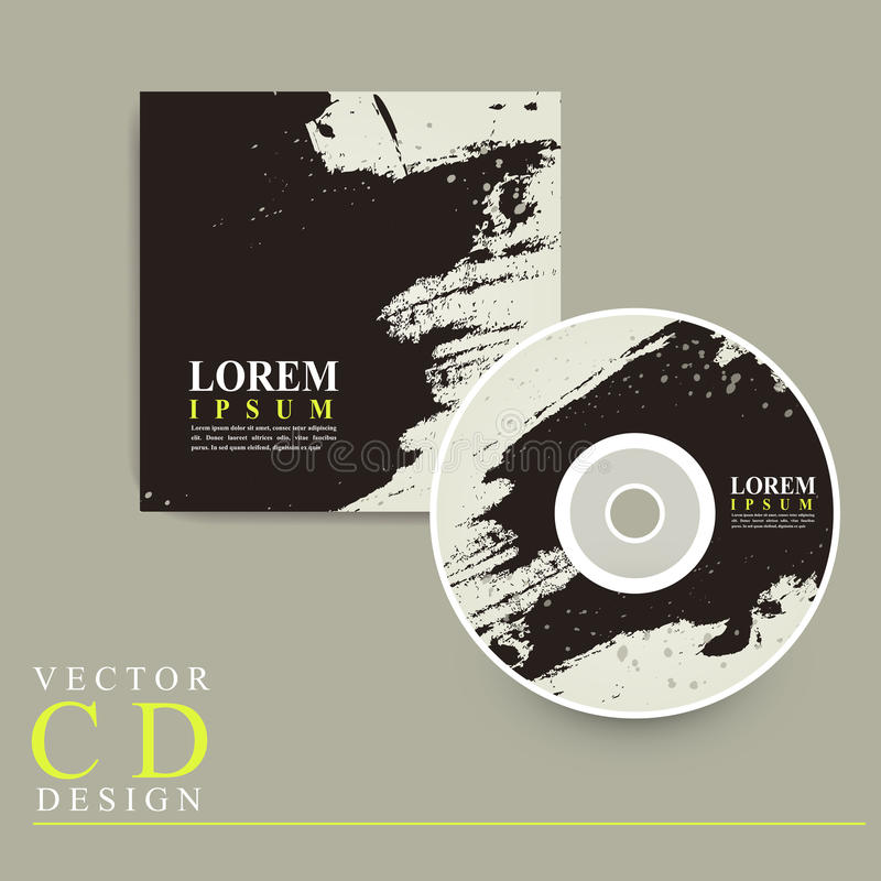 Abstract Chinese calligraphy design for CD cover. Template royalty free illustration
