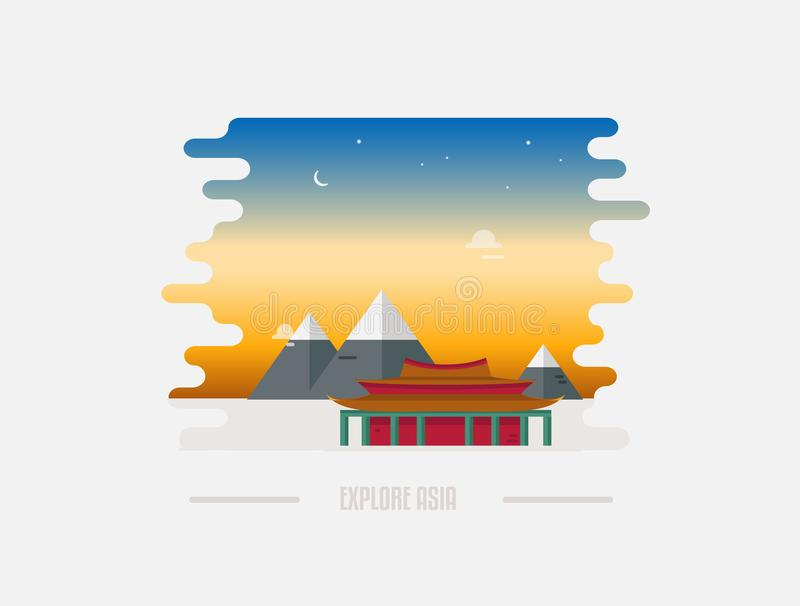 Abstract Chinese landscape with pagoda and mountain on the background vector illustration royalty free illustration