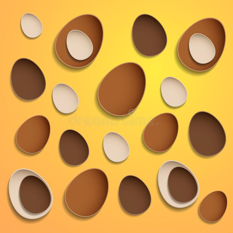 Abstract chocolate easter eggs on yellow background stock photo