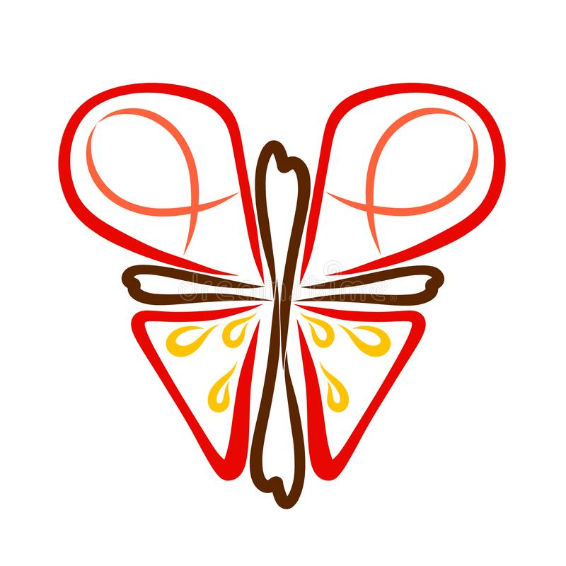 Abstract Christian butterfly from a cross with a heart, symbolism.  vector illustration