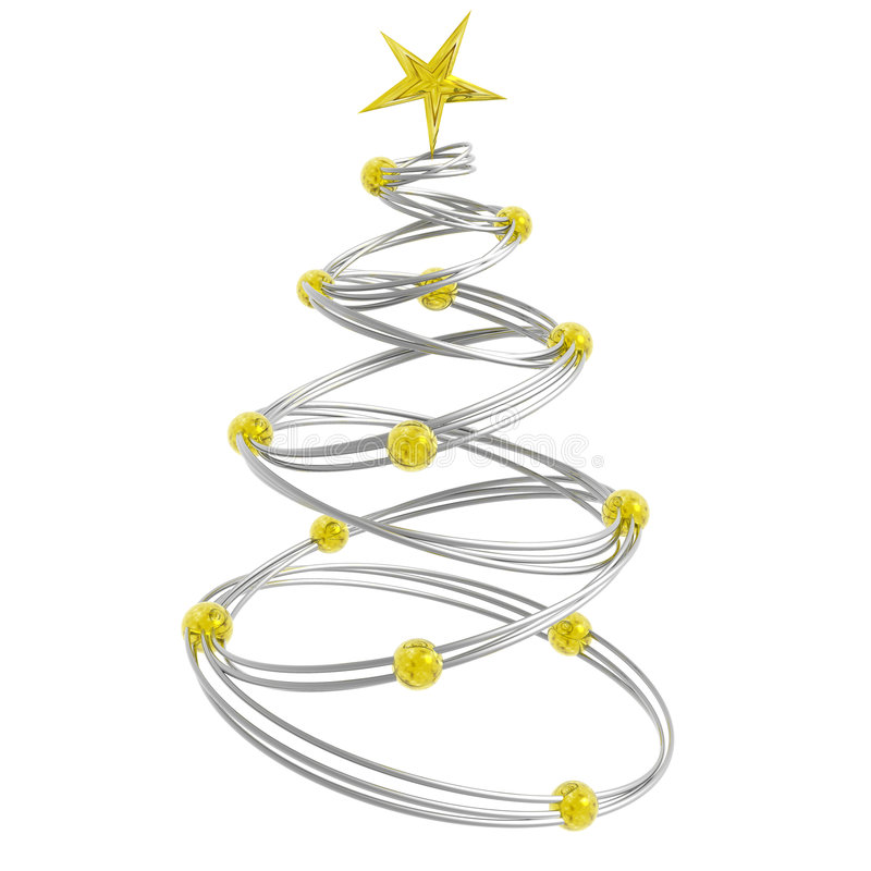 Abstract christmas. Tree made of silver rings connected with golden beads stock illustration