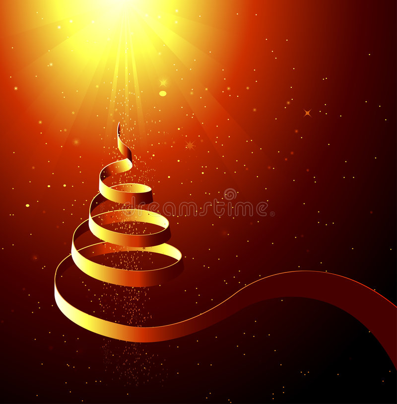 Abstract Christmas Background. An illustrated Christmas background with an abstract design of a spiraling tree and bright sun on the top vector illustration