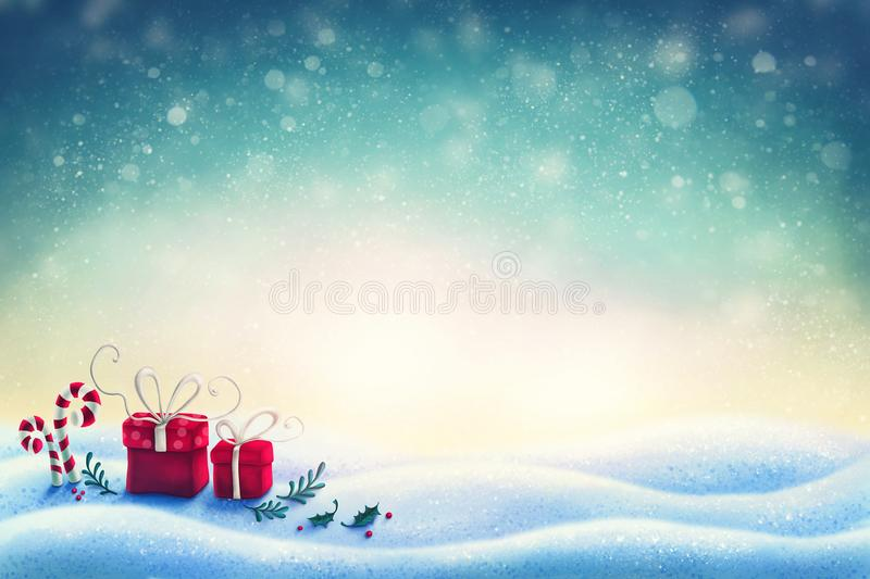 Abstract christmas background. With gift boxes royalty free illustration