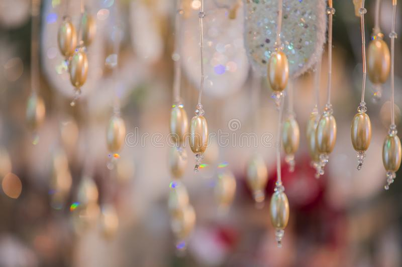 Abstract christmas background with beads. New years cute texture.  stock photo