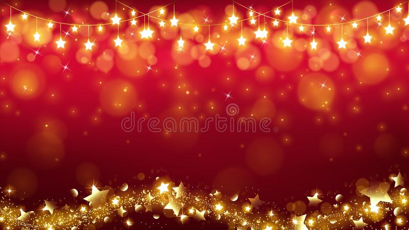 Abstract Christmas background with glowing stars vector illustration