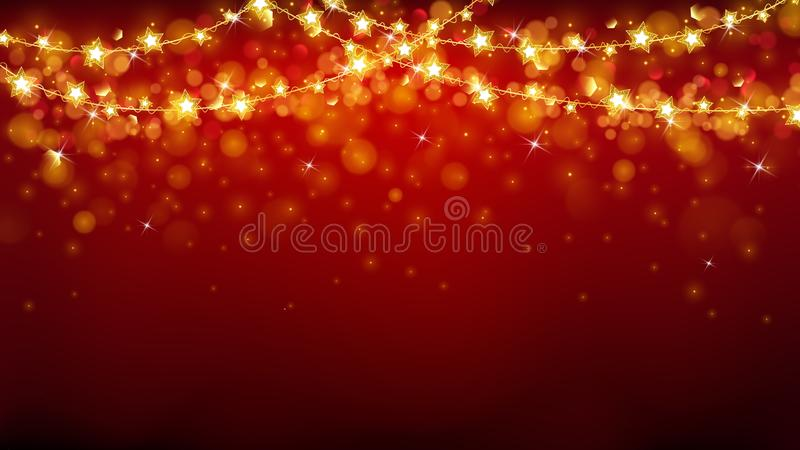 Abstract Christmas background with glowing stars stock illustration