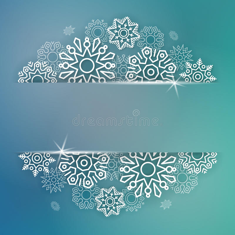 Abstract Christmas background with linear snowflakes stock photo