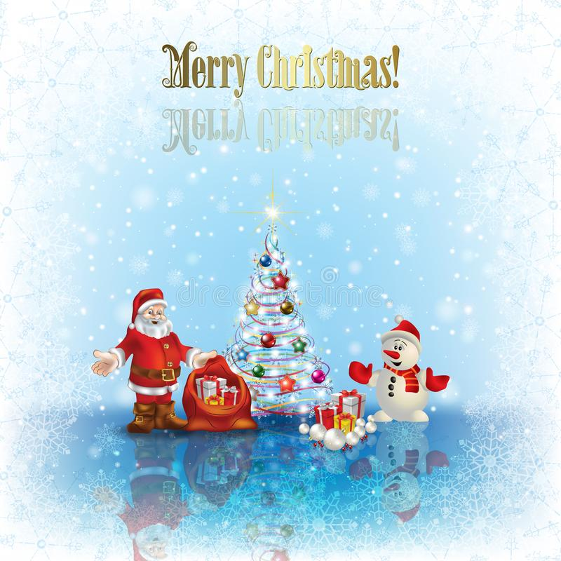 Abstract Christmas background with Santa Claus snowman and tree royalty free illustration