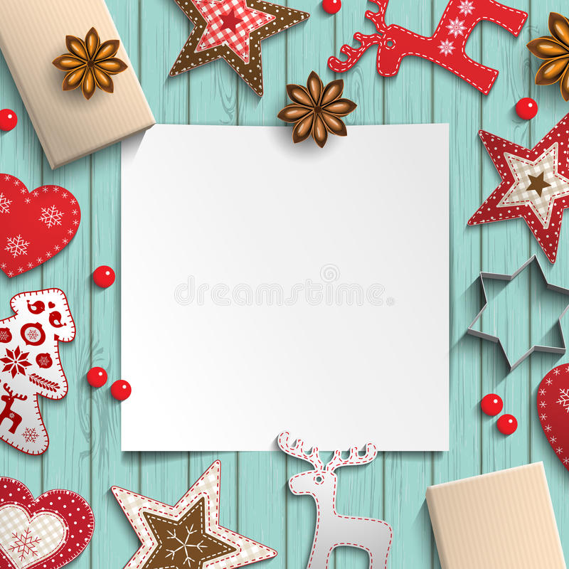 Abstract christmas background, white sheet of paper lying among small scandinavian styled decorations on wooden desk vector illustration