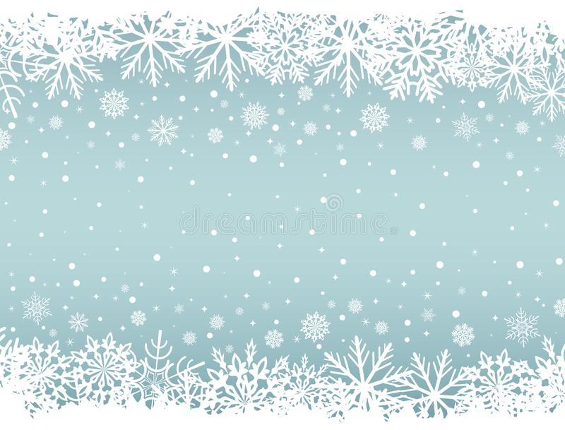Abstract Christmas background with white snowflake borders stock illustration