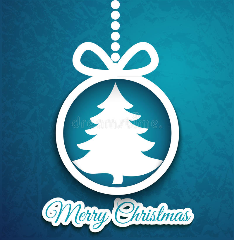 Abstract Christmas ball cutted from paper. Christmas ball cutted from paper on blue background. Vector eps10 illustration for your design royalty free illustration