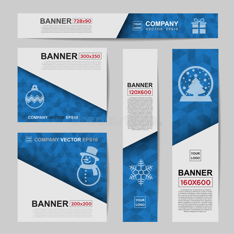 Abstract Christmas banner for Christmas Website Ads. Ratio,728x90,300x250,200x200,120x600,160x600 stock illustration