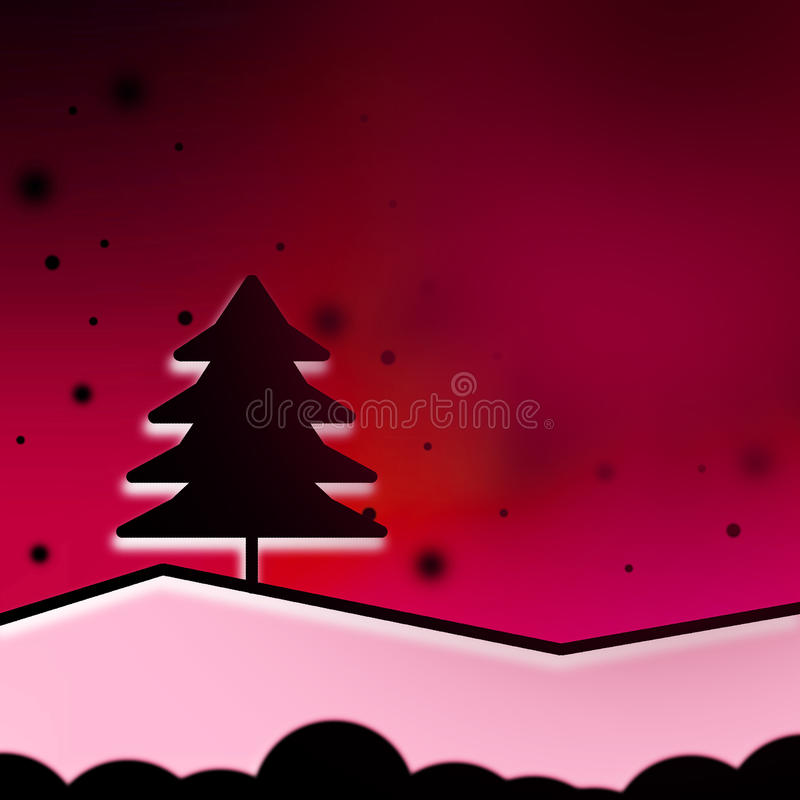 Abstract christmas. Black tree red background royalty free illustration