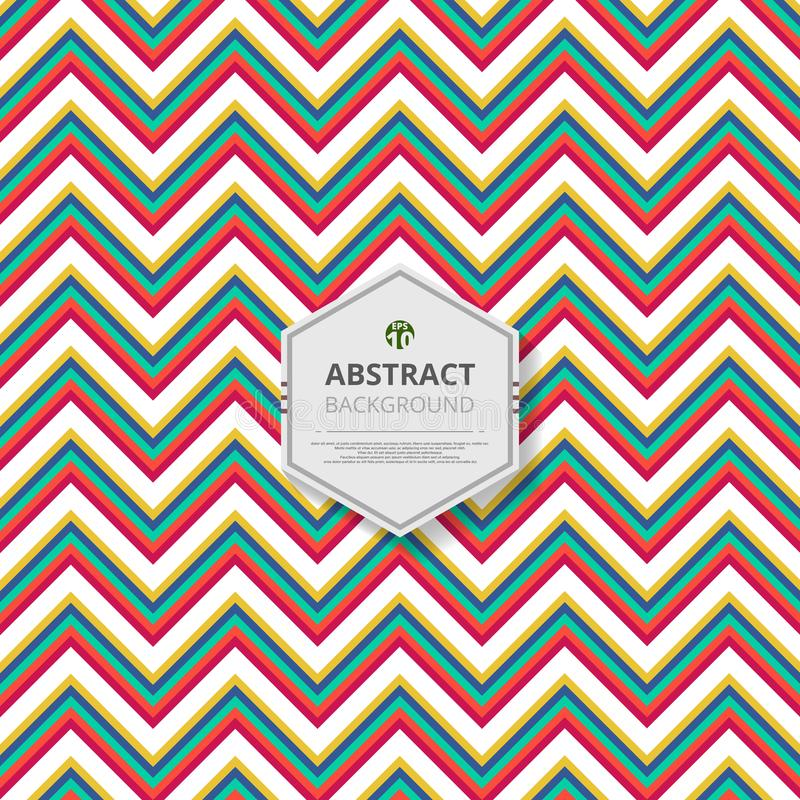 Abstract of christmas colorful stripe zigzag line pattern background vector. stock illustration