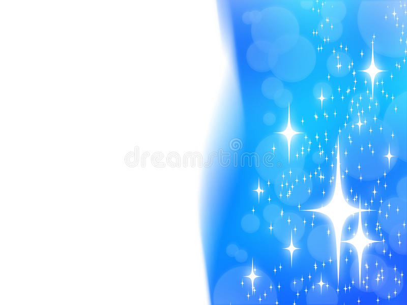 Abstract christmas design with white stars on blue stock illustration