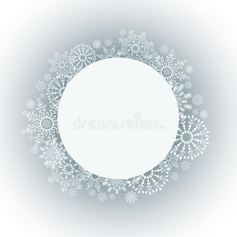 Abstract Christmas frame with white snowflake border vector illustration