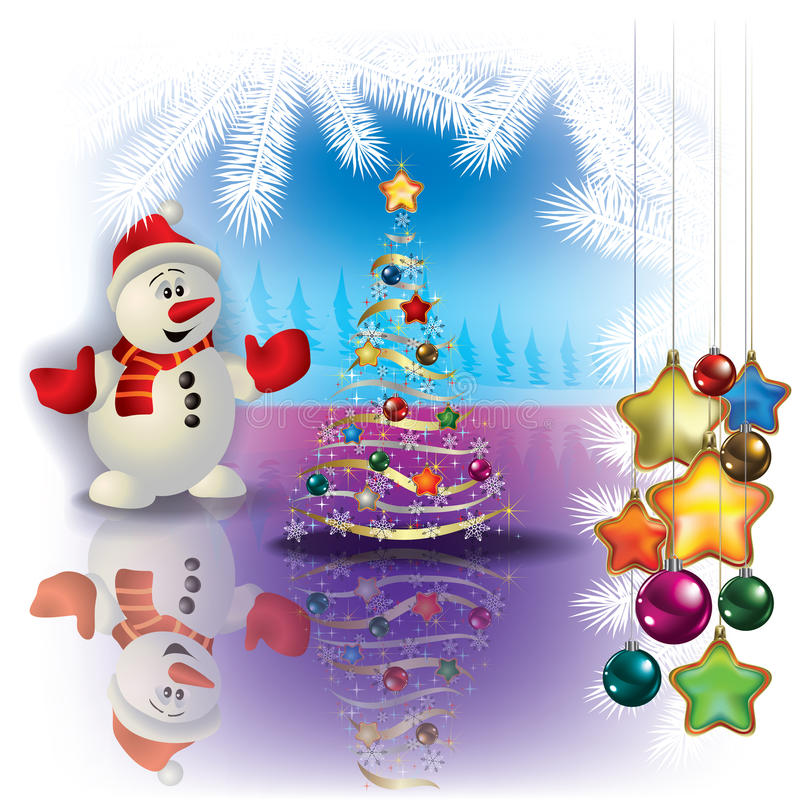 Abstract Christmas greeting with snowman royalty free illustration