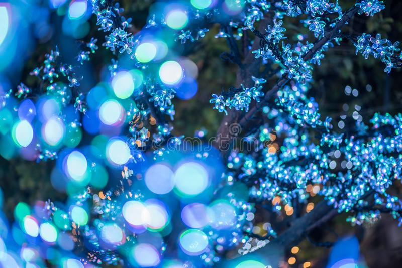 Abstract Christmas and Happy New years bokeh background. For design pattern stock image