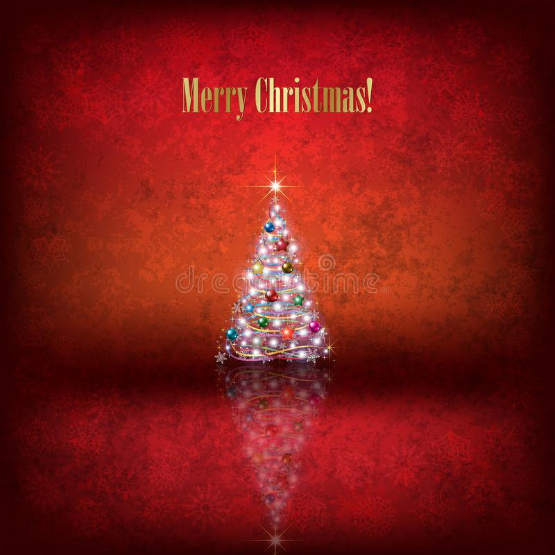 Abstract Christmas illustration with tree and decorations on red background royalty free illustration