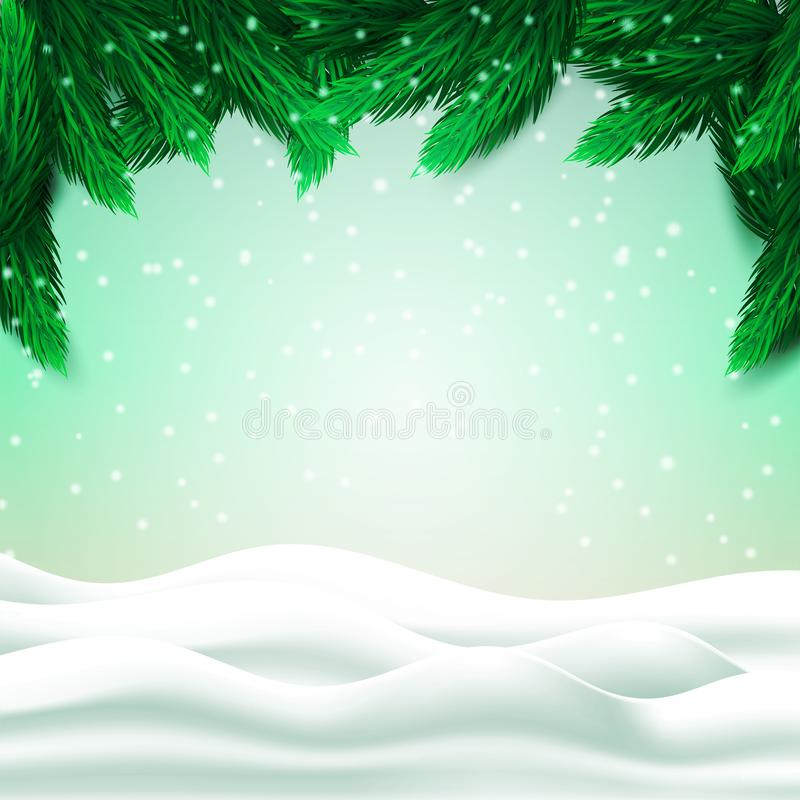 Abstract Christmas landscape with fir tree branches and snow hills on green background. Vector illustration stock images