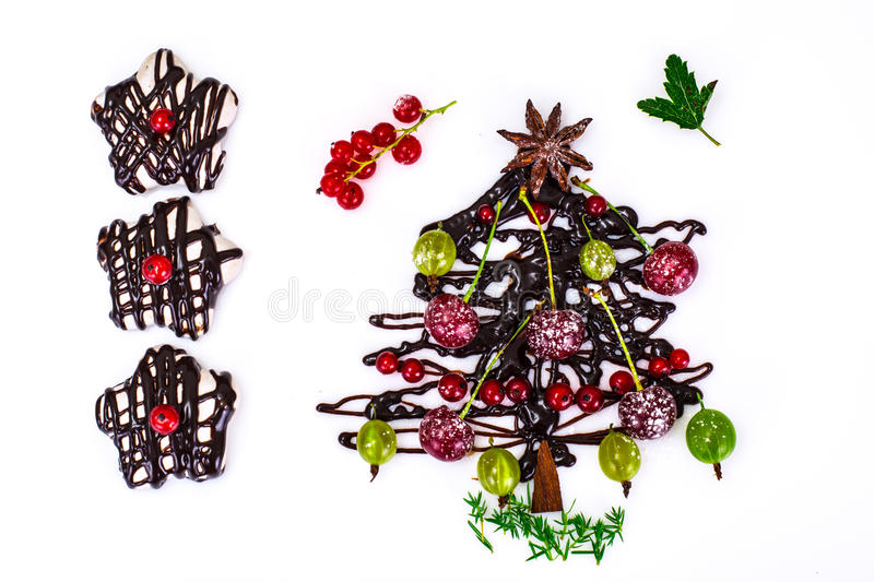 Abstract Christmas Natural Background on White. Chocolate Christ stock photography