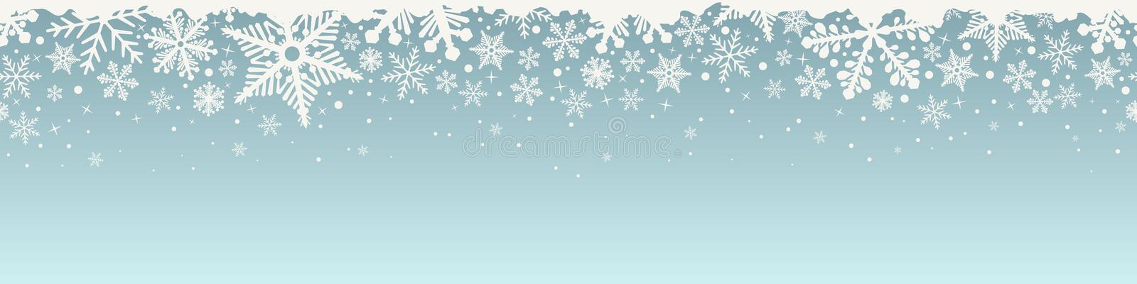 Abstract Christmas top snowflake seamless border. stock illustration