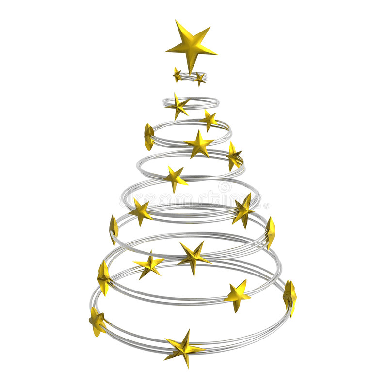 Abstract christmas tree. Made of silver rings with golden stars royalty free illustration