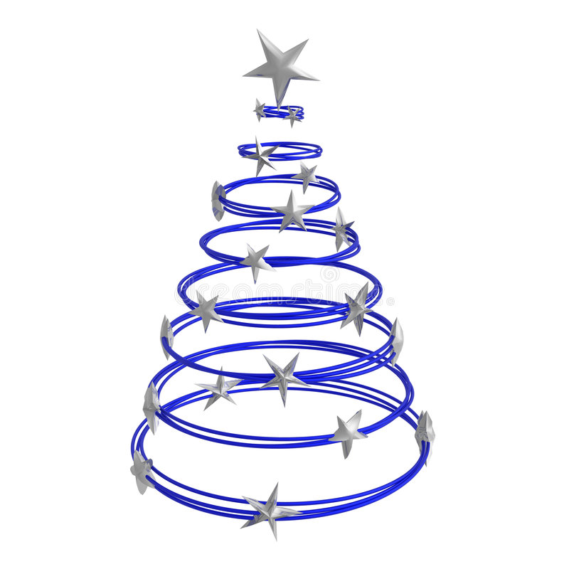 Abstract christmas tree. Made of dark blue rings with silver stars vector illustration