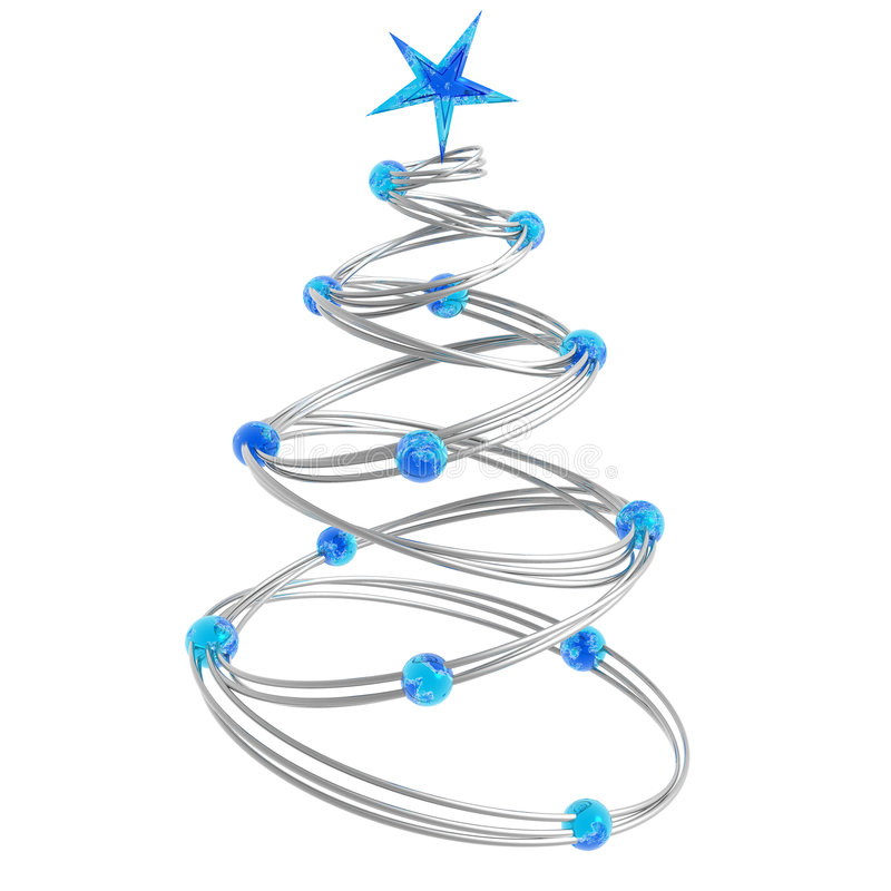 Abstract christmas tree. Made of silver rings connected with light blue beads vector illustration