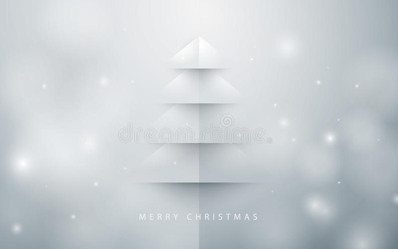 Abstract christmas tree background. Paper art style vector illustration