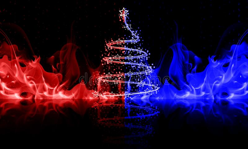 Abstract christmas tree in blue and red fire stock illustration