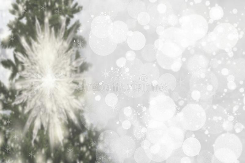 Abstract christmas tree bokeh background. Abstract blurred festive winter xmas backdrop texture with shiny silver and white royalty free stock photography