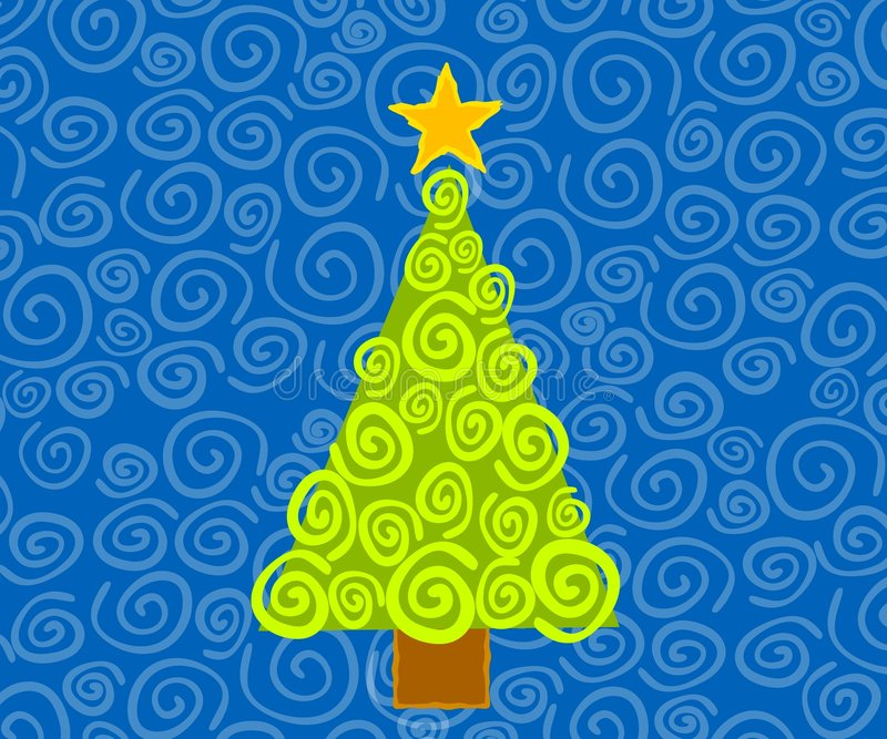 Abstract Christmas Tree Card vector illustration