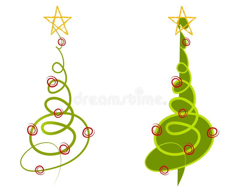Abstract Christmas Tree Clip Art. A clip art illustration of your choice of 2 abstract Christmas trees made of simple doodled lines in green with decorations vector illustration