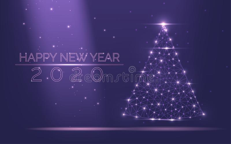 Abstract Christmas tree frame 2020 of bright light from particles popular purple background. Symbol of Happy New Year, Merry vector illustration