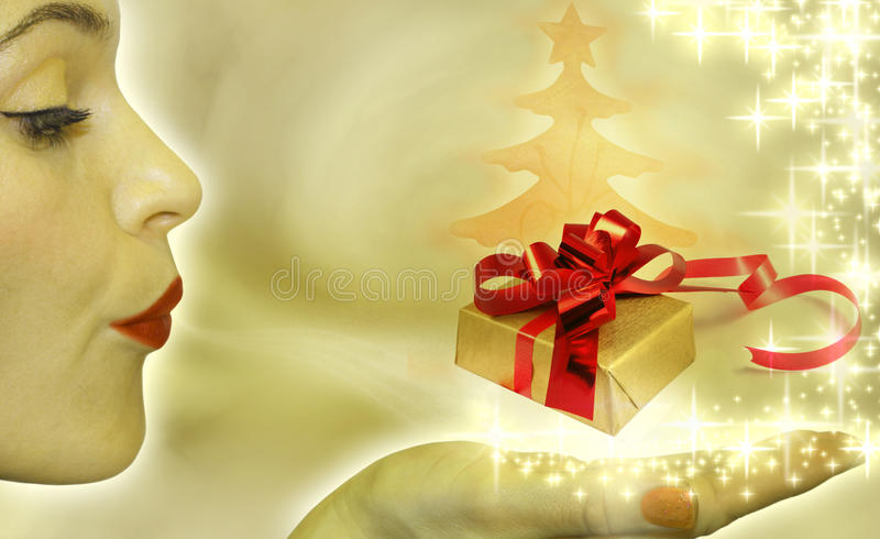 Abstract of christmas tree and gift. With blowing woman royalty free illustration