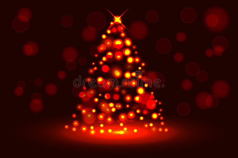 Abstract christmas tree from glowing sparkles, circular vector illustration