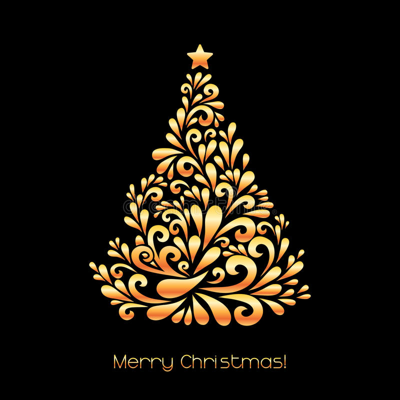 Abstract christmas tree in gold color stock vector illustration download abstract christmas tree in gold color stock vector illustration of invitation illustration stopboris Choice Image