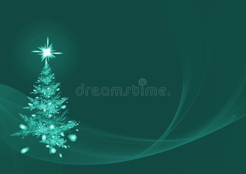 Abstract Christmas tree on green background stock photos