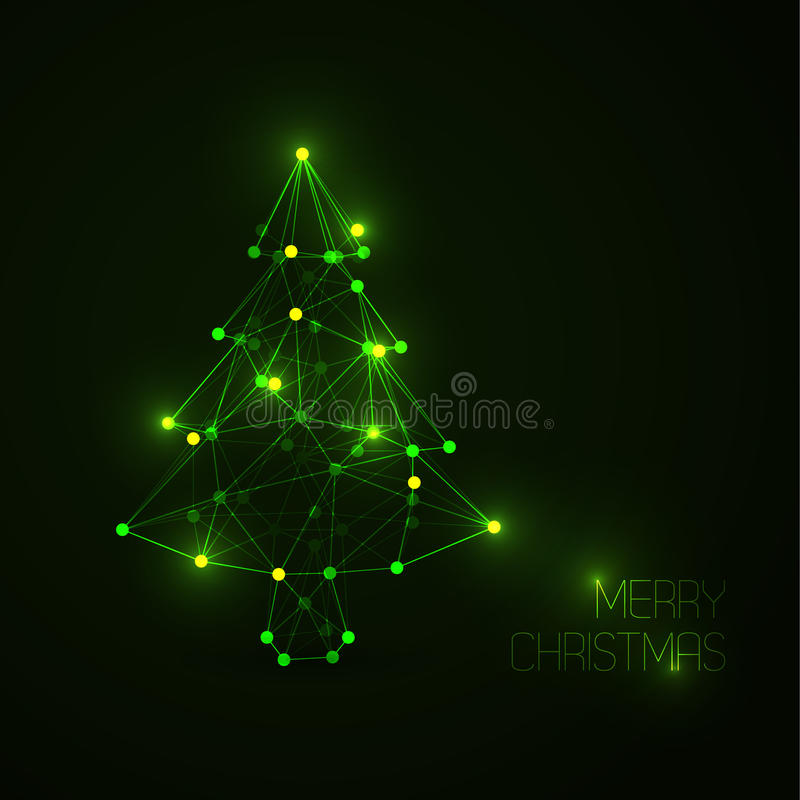 Abstract christmas tree made from light lines and dots vector illustration