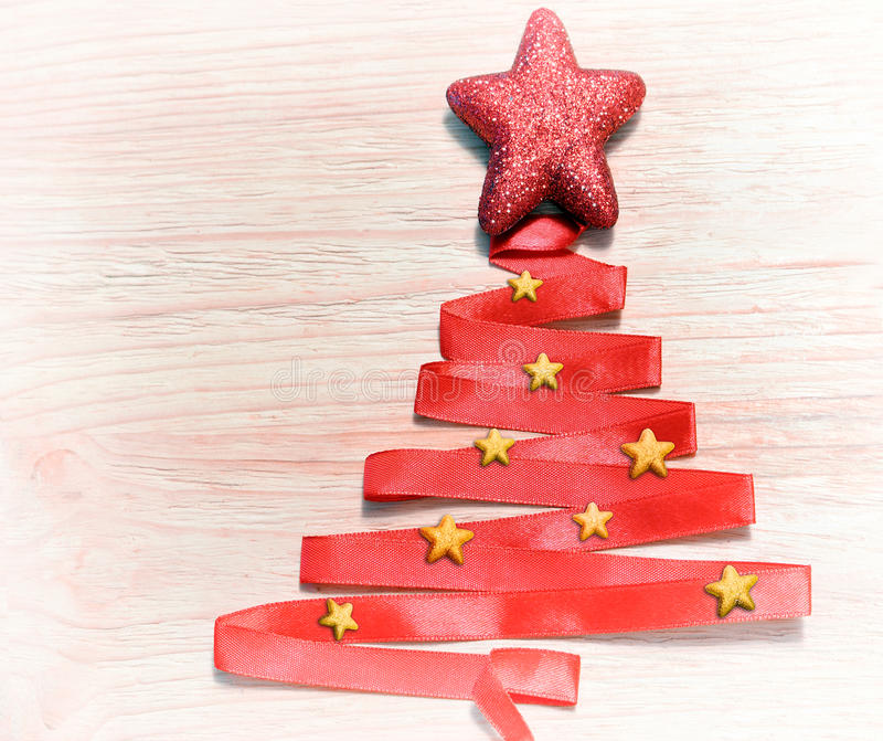 Christmas Tree With Red Ribbon: Abstract Christmas Tree Made From Red Ribbon Stock Image
