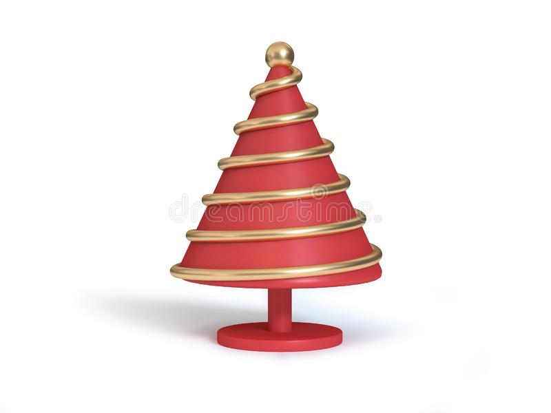 Abstract christmas tree red cone gold line metallic reflection 3d render white background,holiday christmas new year 3d render royalty free illustration