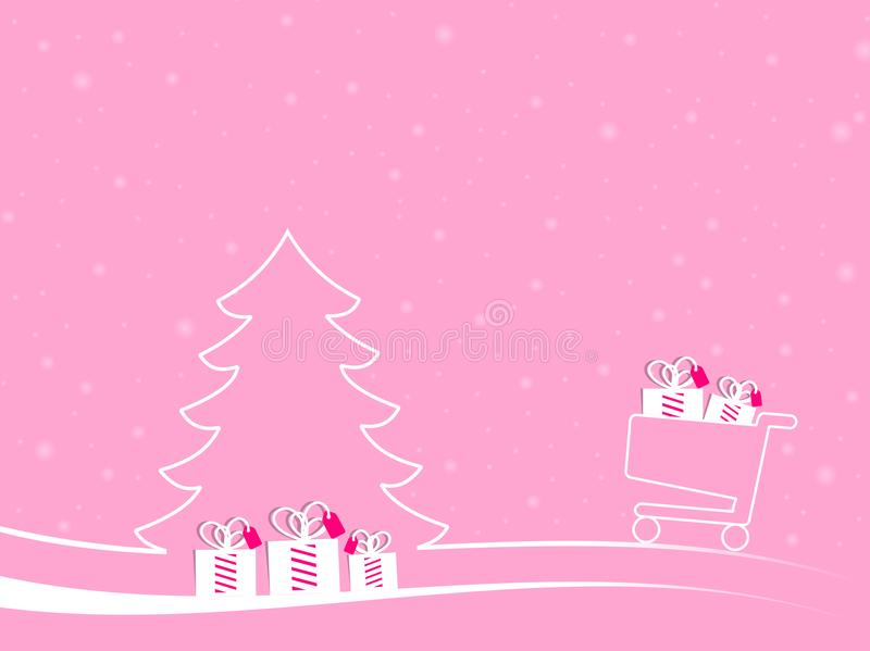 E-commerce christmas landscape with snow stock illustration