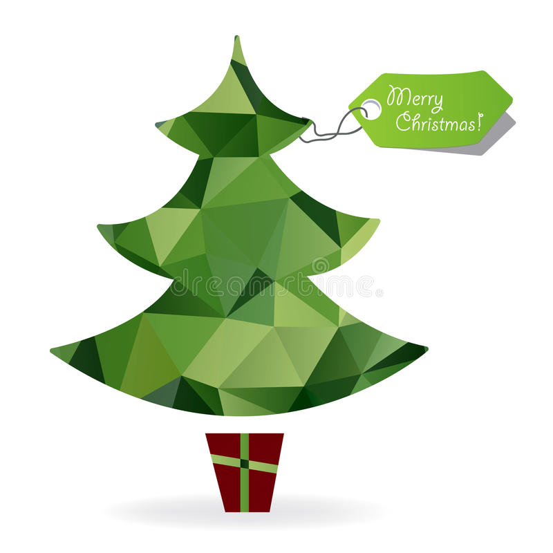 Abstract Christmas tree symbol made of triangles,geometric shapes. vector illustration