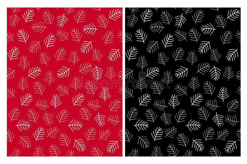 Abstract Christmas Tree Twigs Seamless Vector Patterns. Black, Red and White Design. White Simle Twigs. Red and Black Background. Lovely Repeatable Design. Cute stock illustration