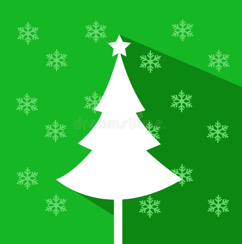 Abstract christmas tree vector illustration. With colored background and snowflakes vector illustration