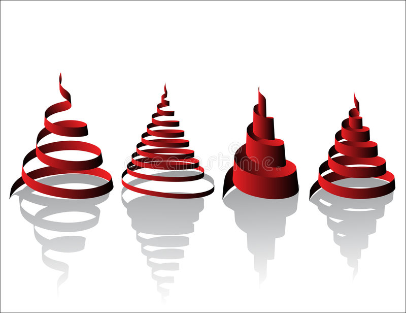 Abstract Christmas Trees. An illustrated background of a set of four Christmas trees in an abstract shape, isolated on a white background stock illustration
