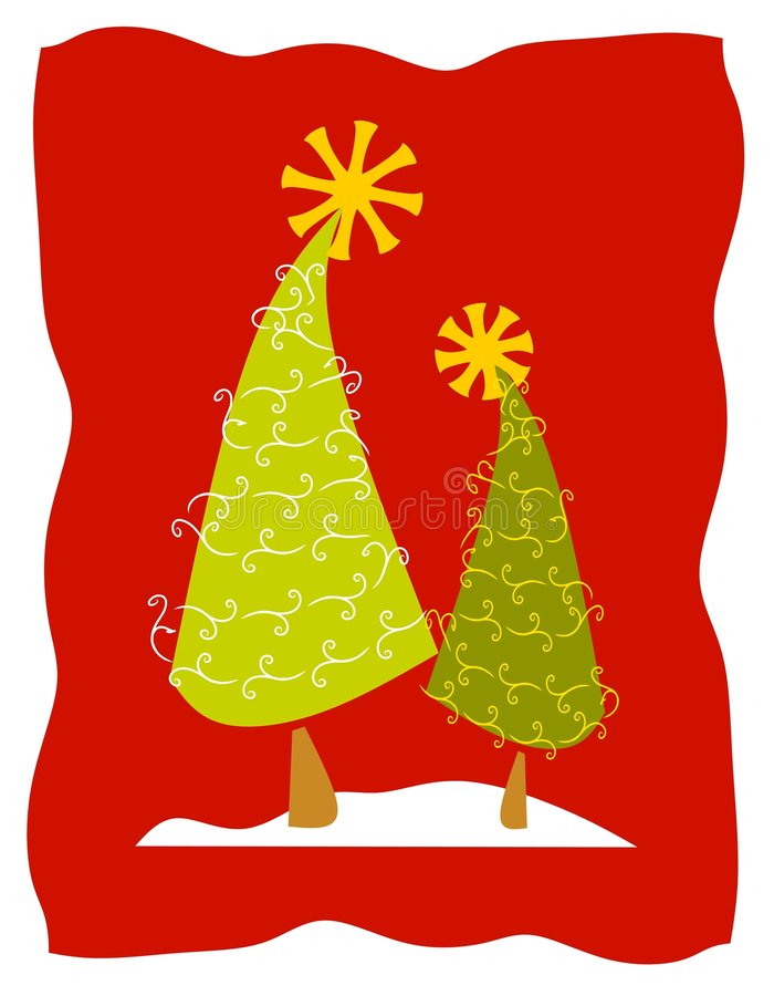 Abstract Christmas Trees in Snow vector illustration