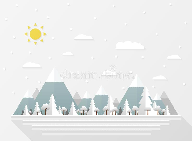 Abstract of Christmas white snow falls, presenting paper cut in wide forest background vector illustration