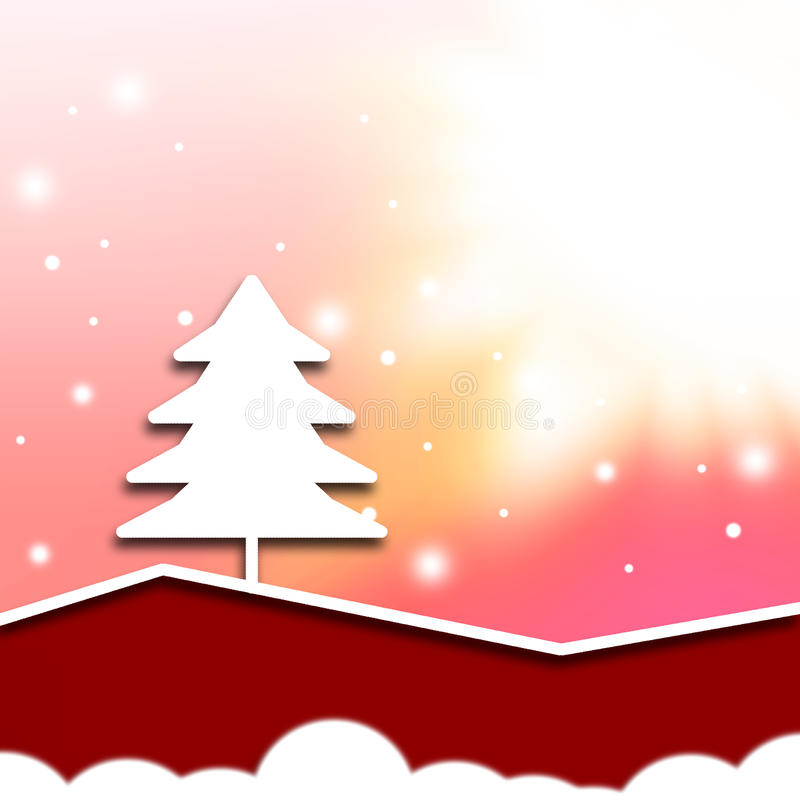 Abstract christmas. White tree,red tone color background vector illustration